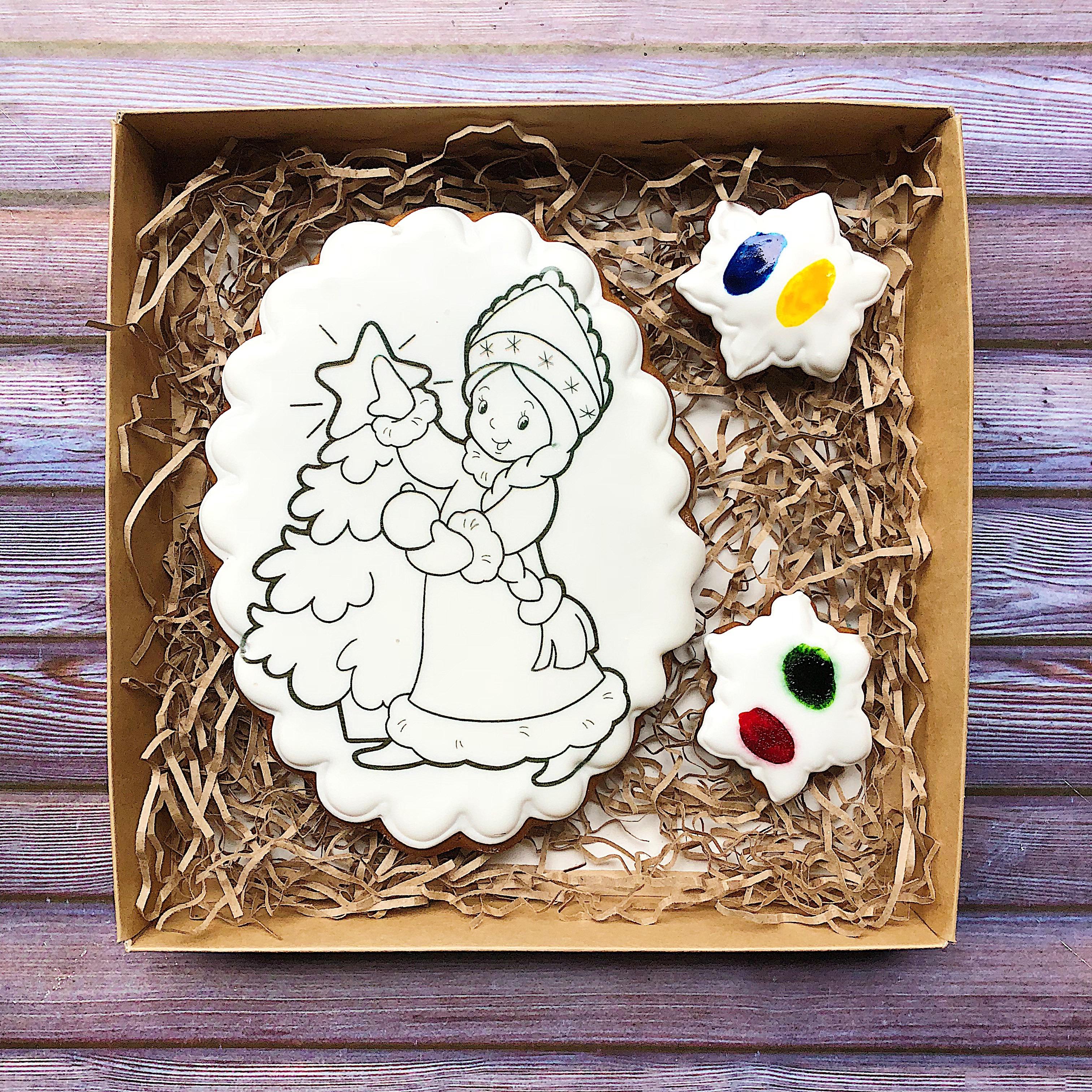Пряник-раскраска «Снегурочка с елкой» - Купить подарочные ...